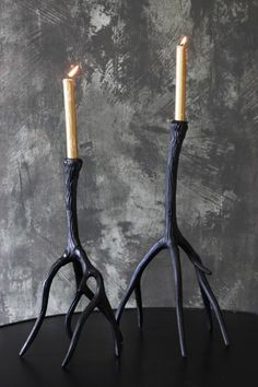 Black Metal Antler Candlestick - Large