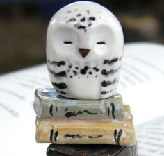 Hedwig the Sleepy Snowy Clay Owl: Harry Potter Inspired Owlery Miniatures. $13.00, via Etsy.