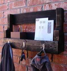 I am getting this! So pretty & functional! Simply Rustic Entryway 3 Hanger Hook Coat Rack and Mail Phone Key Organizer