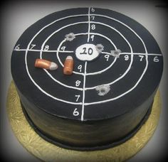 Bullets are fondant. Bullet holes were done by sticking a dowel rod in the cake to make. Gorgeous Cakes, Amazing Cakes, Gun Cakes, Dad Cake, Adult Birthday Cakes, Cake Birthday, Cakes For Men, Novelty Cakes, Cake Decorating Tips