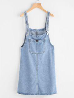 Blue Denim Pinafore Dress With Front Pocket