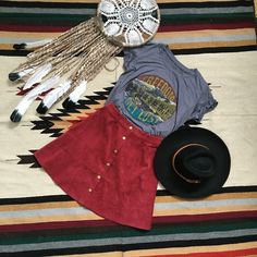 Boho western chic fashion style. The freedom tee and corduroy button skirt make a perfect bohemian style outfit!  Oh-DeerBoutique.com