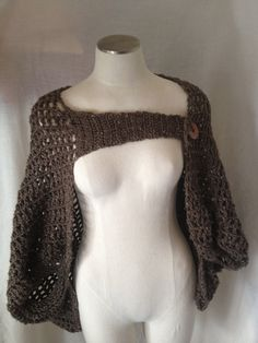 Hand Crocheted Boho Chic Shrug with Stone Donut Button