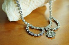 Vintage Clear Rhinestone Necklace by CobblestonesVintage on Etsy
