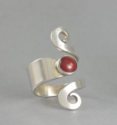 RING, STERLING SILVER, Handmade Statement Ring From Sterling Silver Fork , size 51/2 to 6 1/2, 8 x 10 mm Carnelian Cabochon ,High Polished . by McWilliamsBopArt on Etsy