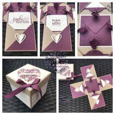 Stampin up Explosionsbox Hochzeit Heirat Wedding Geldgeschenk Geschenkverpackung Brautpaar Geschenk Glückwünsche