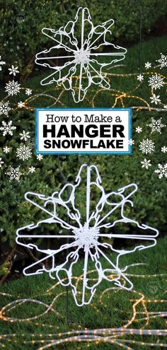 Christmas Decorating Tricks Use child size plastic hangers and zip ties to make a hanger snowflake! Decorate for the holidays with these beautiful DIY snowflakes made out of hangers. Snowflake Craft, Snowflake Decorations, Christmas Snowflakes, Christmas Fun, Christmas Decorations, Grinch Decorations, Christmas Ornaments, Snowflake Pattern, Christmas Signs