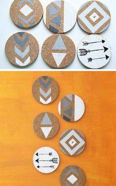 Painted Cork Coasters #handmade #gift