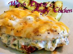Witch Doctor's Angry Chicken (I created for a Diablo III recipe contest) aka jalapeno popper stuffed chicken. Spicy, cheesey, jalapeno popper deliciousness. WLS Recipes. WLS Meals. Eating Bariatric.