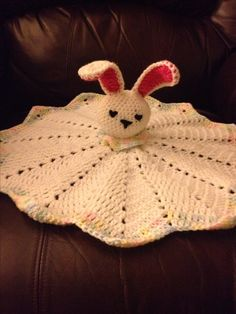 crochet bunny lovey - Red Heart Bunny Comfort Blankie head pattern & SmoothFox round ripple blanket pattern