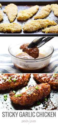 Sticky Garlic Chicken and Broccoli - bake, dip, bake again, eat and love. 340 calories. | pinchofyum.com #chicken #recipe