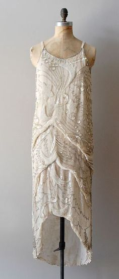 Vintage 1920s Diaphanous Star beaded dress: