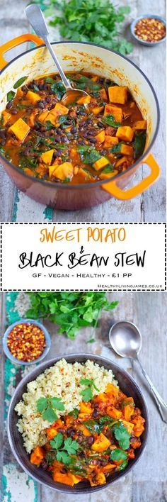 Sweet Potato & Black Bean Stew - Gluten Free & Vegan and a portion! This Sweet Potato & Black Bean Stew is the perfect comforting dish to make during this cold weather. It is so simple to mak Veggie Recipes, Soup Recipes, Whole Food Recipes, Cooking Recipes, Cooking Ideas, Recipies, Chicken Recipes, Recipes Dinner, Beans Recipes