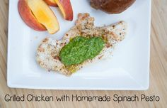 Grilled Chicken with Homemade Spinach Pesto from 5DollarDinners.com