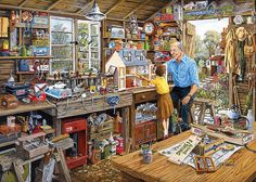 Jigsaw Puzzle - 1000 Pieces - Grandpa's Workshop Gibsons 1000 pieces from Large choice of Jigsaw Puzzles - Countryside. Wood Shed Plans, Shed Building Plans, Storage Shed Plans, Norman Rockwell, Arte Country, Puzzle Art, Puzzle 1000, Shed Kits, Shed Design