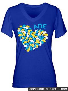 Alpha Omega Epsilon Swirl Heart Fine Jersey V-neck #greeku