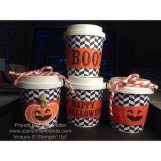 Halloween Mini Coffee Cup Favors Using Stampin' Up! Boo-tiful Bags, Fall Fest & Good Greetings Stamp Sets/ www.stampinwithlinda.com