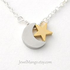 Sale Moon & Star necklace moon star jewelry moon by JewelMango
