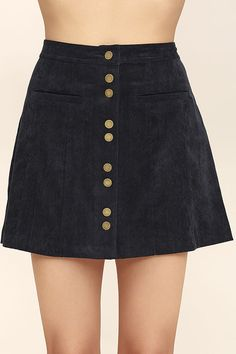 You've got the go-getter attitude, now get an outfit to match! The Made with Moxie Navy Blue Corduroy Mini Skirt is a short and sassy corduroy skirt with a high-waisted fit, front welt pockets, and a full snap button placket.