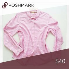 J. Crew gingham blouse The Perfect Shirt by J. Crew can be yours! Soft pink, bdf shirt, long sleeves. Cotton w little bit of stretch for comfort. Mother-of-pearl buttons. Perfect preppy top :) Mint condition, 9 / 10. J. Crew Tops Button Down Shirts