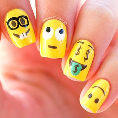 Emoji Nail Art #emoji #emojinails
