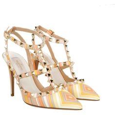 Valentino Rockstud Native Couture Heels Multicolor in colorful, Pumps ($865) ❤ liked on Polyvore featuring shoes, pumps, colorful, leather shoes, high heel stilettos, pointy-toe pumps, strappy pumps and valentino pumps