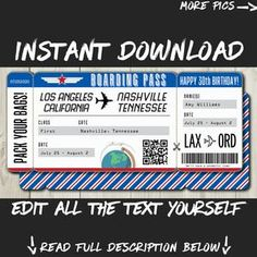 DIY Printable Editable Boarding Pass Surprise Fake Airline | Etsy Boarding Pass Template, Ticket Template, Printable Tickets, Destinations, Ticket Design, Happy 30th Birthday, Airline Tickets, Travel Gifts, Text You
