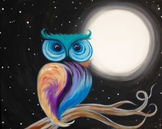 Colorful owl by the moon painting. Easy Canvas Painting, Moon Painting, Simple Acrylic Paintings, Diy Painting, Painting & Drawing, Canvas Wall Art, Owl Paintings, Arte Pop, Owl Art