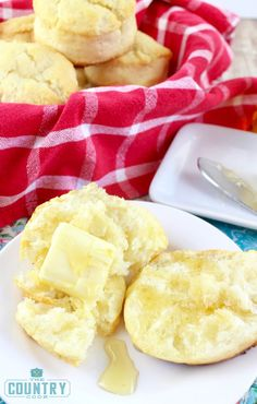 Homemade biscuits with butter and honey