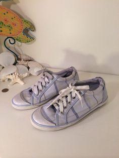 Coach Barrett Size 7.5 light blue fabric Sneaker Plaid Leather Laced shoe $98