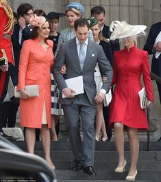 Star-studded: Lord Frederick Windsor, the son of Prince and Princess Michael of Kent, is pictured with his wife (left) Sophie Winkleman, Peep Show actress and sister of Strictly presenter Claudia Winkleman. His sister Lady Gabriella Windsor joined them (right)