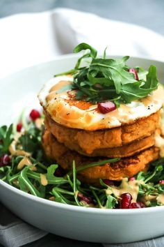 Curried sweet potato & chickpea pancakes with lemon tahini dressing – Charley's Health