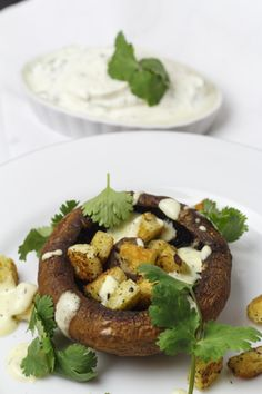 [indisch] Würzige Portobellos mit cremigem Zitronendressing