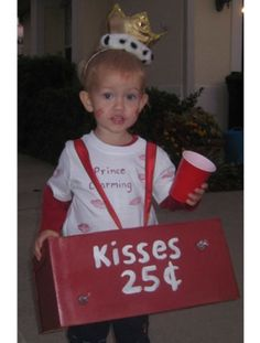 ((Original commentary))For anyone that has a boy! so cute :)  Prince Charming toddler costume  ((My commentary)) I would rapidly re-evaluate my friendship with anyone who thought it was a good idea to pimp out their child for a Halloween costume.