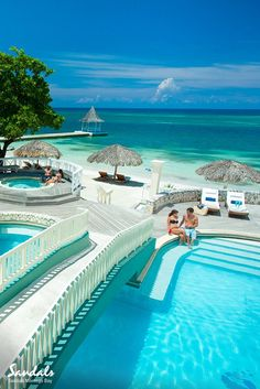 Sandals Montego Bay in Jamaica is home to 4 stunning pools and a beautiful white-sand beach. Our resorts are luxury all-inclusive, that includes the incredible pools, this included swim-up bars! Amazing Places On Earth, Beautiful Places To Travel, Places Around The World, Beautiful Beaches, Inclusive Resorts, Beach Resorts, Hotels And Resorts, Vacation Places, Dream Vacations