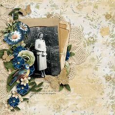 """Datha Joy"" digital scrapbooking layout using Feeling Sentimental Collection Mini"