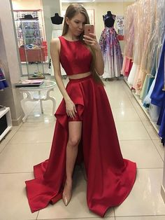 two piece prom dress, red prom dress, long prom dress, 2017 prom dress ,slit prom dress Red Formal Dresses, Elegant Bridesmaid Dresses, High Low Prom Dresses, Cheap Prom Dresses, Party Dresses, Formal Prom, Dresses Uk, Cheap Dress, Dresses 2016