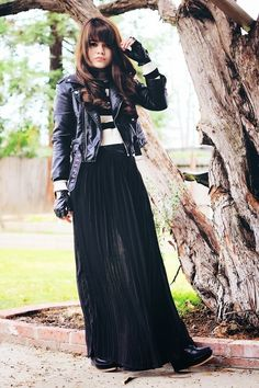 Ragged Edge  /  Striped Top and Leather Jacket, Pleated Black Maxi Skirt