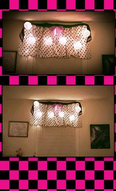I used two extra pillow cases that were included in my twins bed in a bag for their no sew window treatments. I cut a small slit in each closed end then slid the rod through. Then used a silk scarf tied in a bow along with a black and white scarf along the top to add more whimsy. I also looped some bead strands and paper lantern twinkle lights to give it a couple layers of definition and fun. Easy peazy.