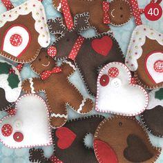 Handmade Felt Christmas Hanging Decoration by yvonne Handmade Christmas Decorations, Felt Decorations, Felt Christmas Ornaments, Christmas Goodies, Christmas Fun, Gingerbread Ornaments, Diy Ornaments, Gingerbread Man, Button Decorations