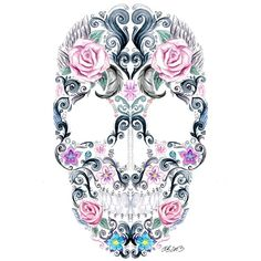 .@art_collective | Pretty Skull #painting by @Charlotte Willner Willner Willner Celius Bjørvik