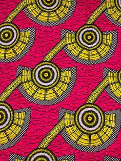 Nigerian Traditional Wear Super Deluxe Wax Fuchsia Yellow Fans Dressing sw151606