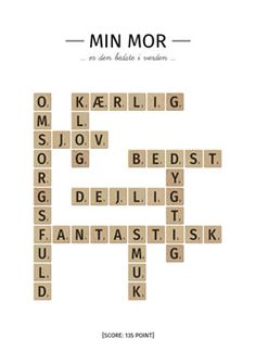 Mors dag: Scrabble plakat til mors dag gave - Melly Joe