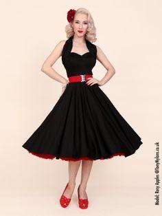 Deze jurk heb ik! 1950er - Swing- Neckholder Kleid - Schwarz Besteld bij http://www.inkedfashion.com snel en geweldige service! uit Oosterijk.
