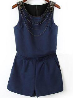 Navy Sleeveless Chain Embellished Jumpsuit 20.00