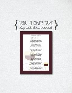 Bridal Shower Game Points Poem Wine Theme by hartzstrings
