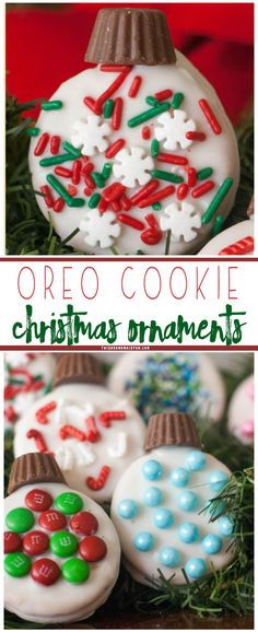 Turn plain Oreo& into darling Christmas tree ornament cookies. Perfect for cookie exchange parties or gifts for friends and neighbors. Christmas Party Food, Christmas Sweets, Christmas Cooking, Christmas Goodies, Holiday Baking, Christmas Desserts, Christmas Tree, Christmas Boxes, Christmas Christmas
