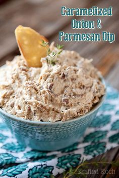 Caramelized Onion & Parmesan Dip is a creamy dip with loads of sweet caramelized onions, Parmesan cheese, fresh thyme and a kick from a little red wine vinegar.