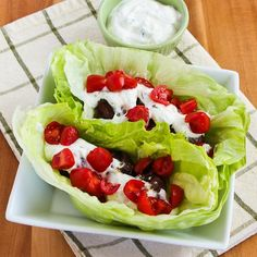 Recipe for Ground Beef Gyro Meatball Lettuce Wraps with Tzatziki and Tomatoes; this is a Phase One (#LowCarb) recipe that really satisfies those Greek food cravings!  [from Kalyn's Kitchen] #SouthBeachDiet  #HealthyNewYear