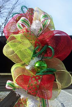 Christmas Mailbox Garland Swag Decoration holiday deco geo mesh decor ribbon red lime. $30.00, via Etsy.